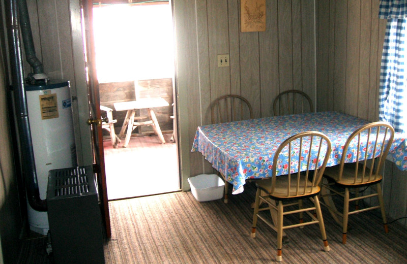 Cabin dining room at Sunset Bay Resort.