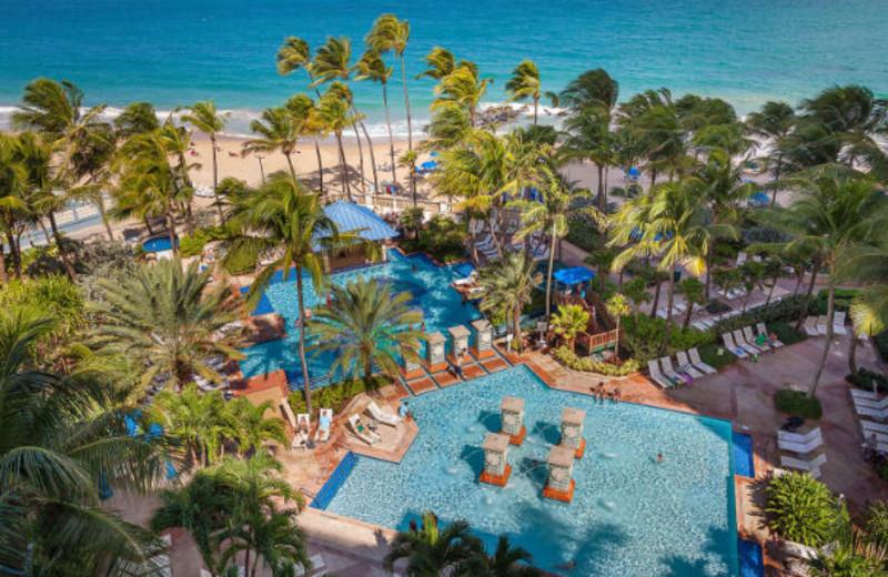 Outdoor pool and beach at Marriott San Juan Resort and Stellaris Casino.