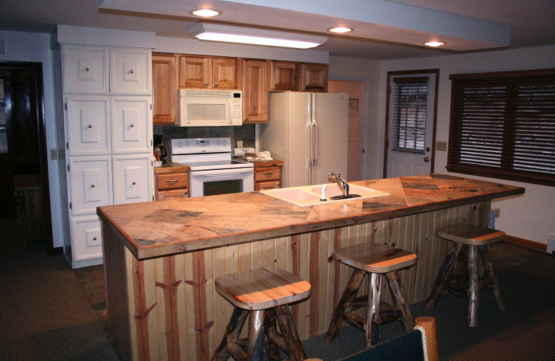 Chalet kitchen at Timber Creek Chalets.