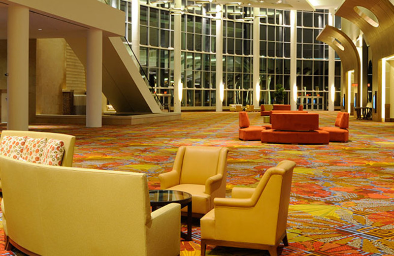 The stunning lobby at the Hyatt Regency Orlando.