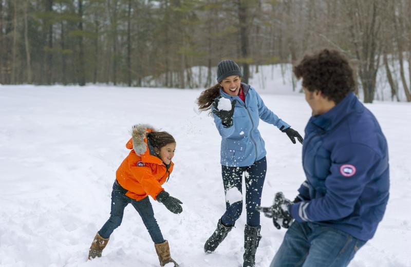 Snowball fight at Fairmont Le Chateau Montebello.