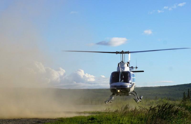 Helicopter at Alaska Trophy Adventures Lodge.