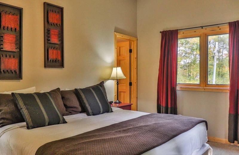 Cabin bedroom at Lost Lake Lodge.