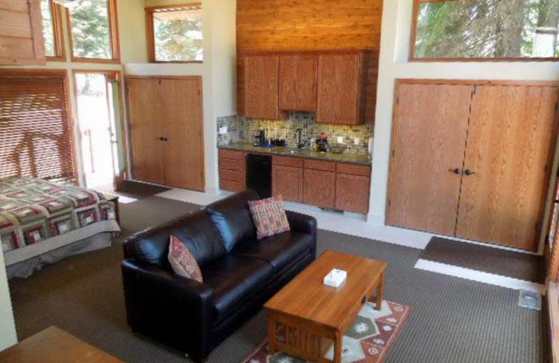 Cabin bedroom at Montecito Sequoia Lodge.