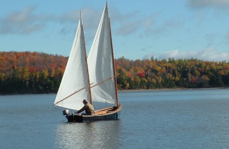 Sail boat on lake at Grant's Camps.