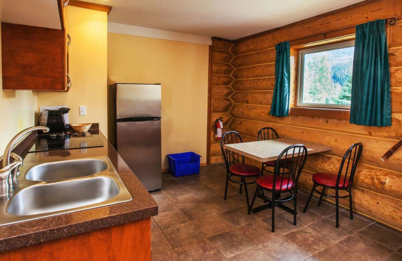 Cabin kitchen at Glacier House Resort.
