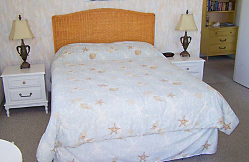 Vacation rental bedroom at Gulf Winds Resort Condominiums.