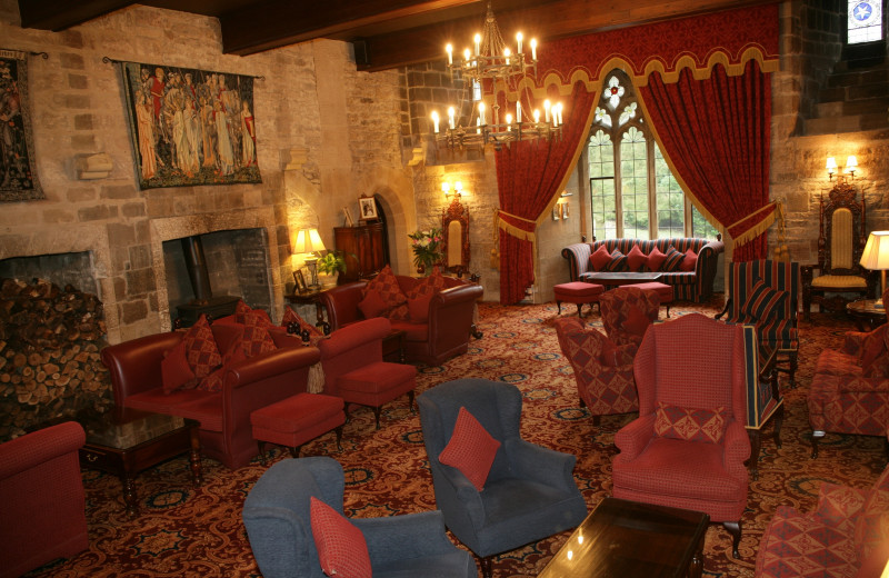 Lounge at Langley Castle Hotel.