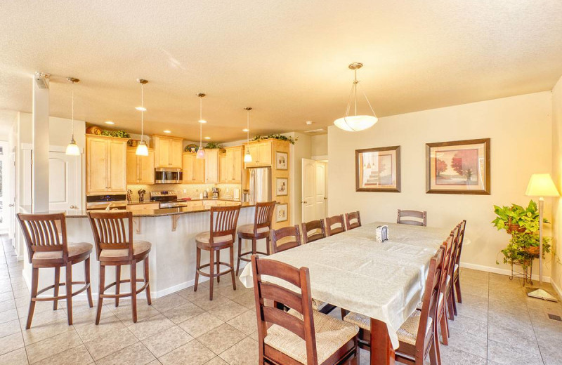 Rental kitchen at Bloomer Estates Vacation Rentals.