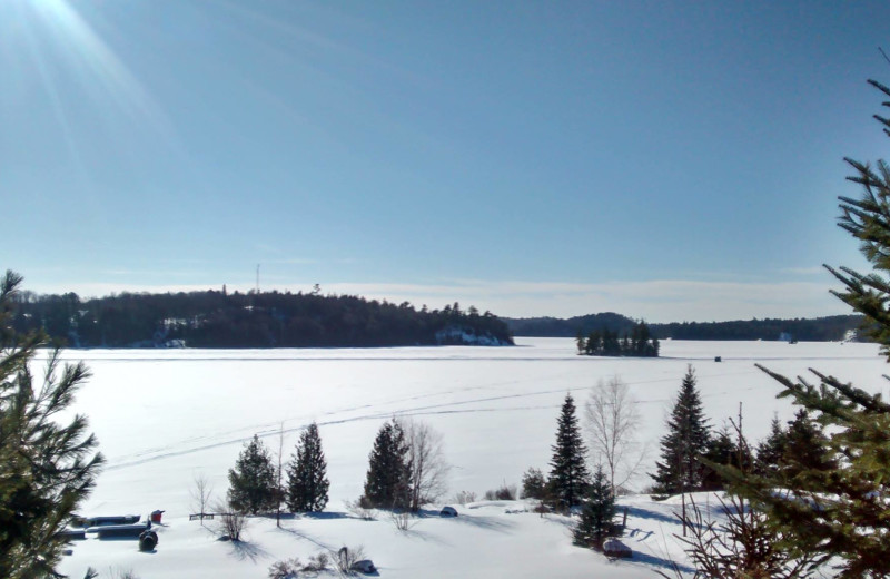 Winter at Dunlop Lake Lodge.