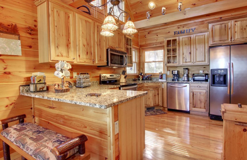 Rental kitchen at Nevaeh Cabin Rentals.