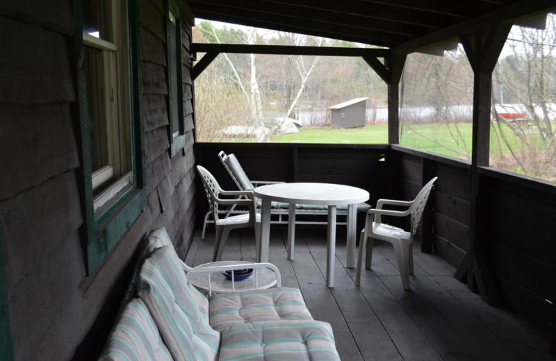 Cottage deck at Twin Pines Resort.