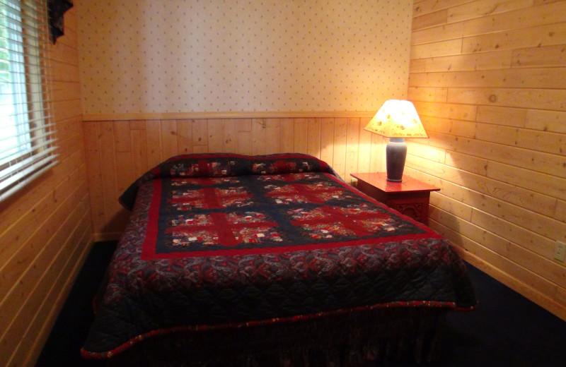 Cabin bedroom at Gull Lake Resort.