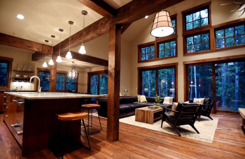 Rental living room at The Lodge at Whitefish Lake.