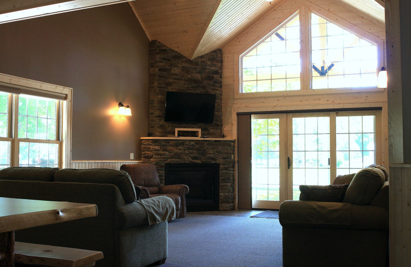Cottage living room at Cedar Valley Resort.