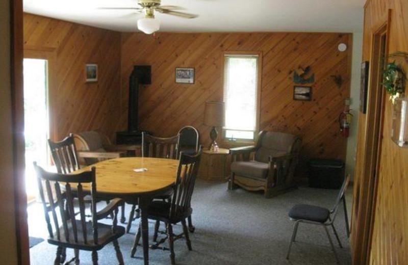 Cabin interior at Louie's Landing on Moose Lake.