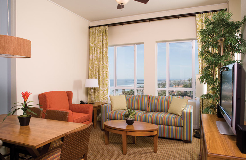 Guest suite at Wyndham Oceanside Pier Resort.