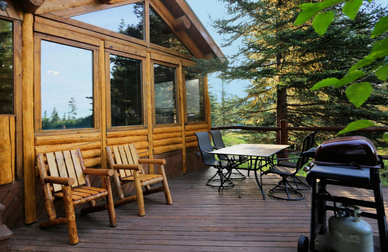 Cabin deck at Bear Paw Adventure.