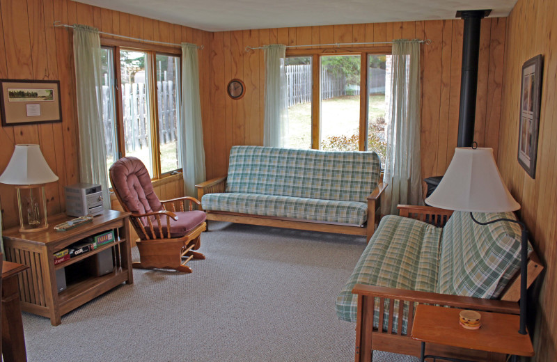 Cabin living room at Nitschke's Northern Resort.
