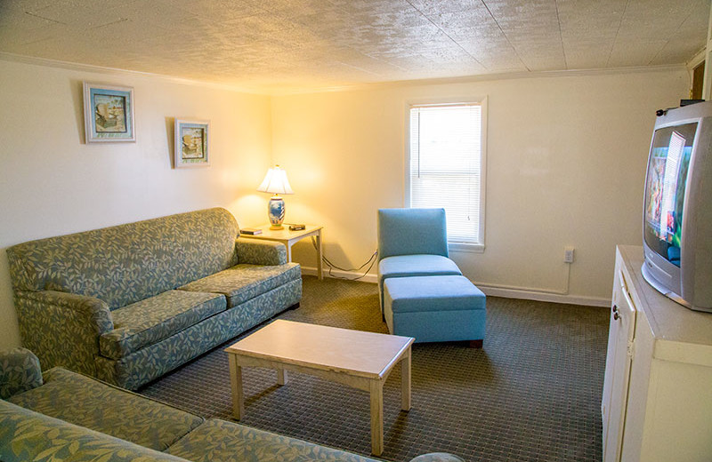 Cottage living room at Oceanic Motel Ocean City.
