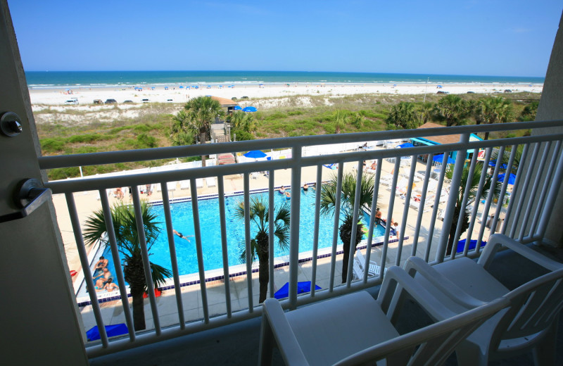 Balcony area at Holiday Isle Oceanfront Resort.