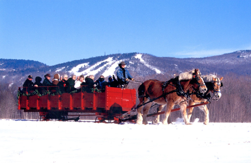Join in with others on a group sleigh ride- through meadows and forests and along the Saco River- panoramic mountain views
