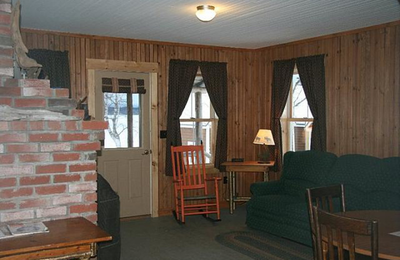 Cabin living room at Bald Mountain Camps Resort.