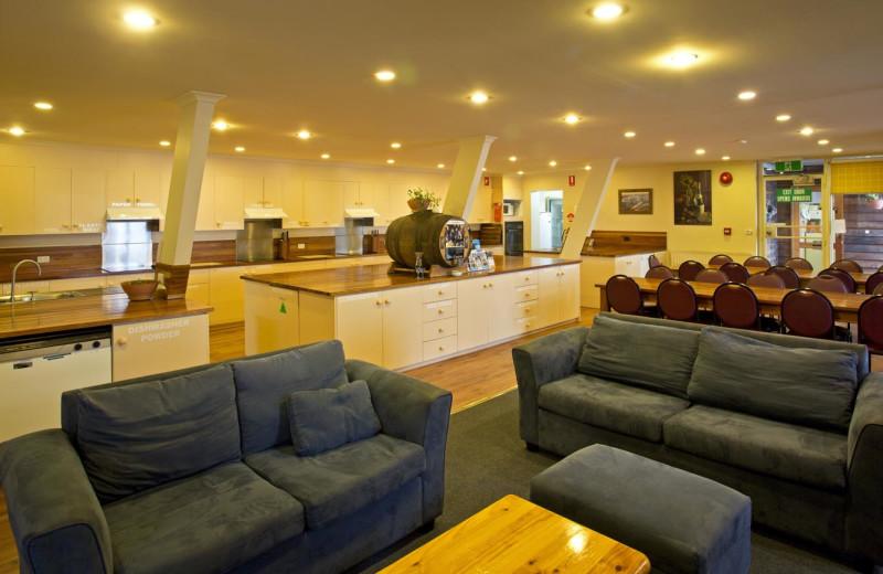 Lobby at Alpha Ski Lodge.