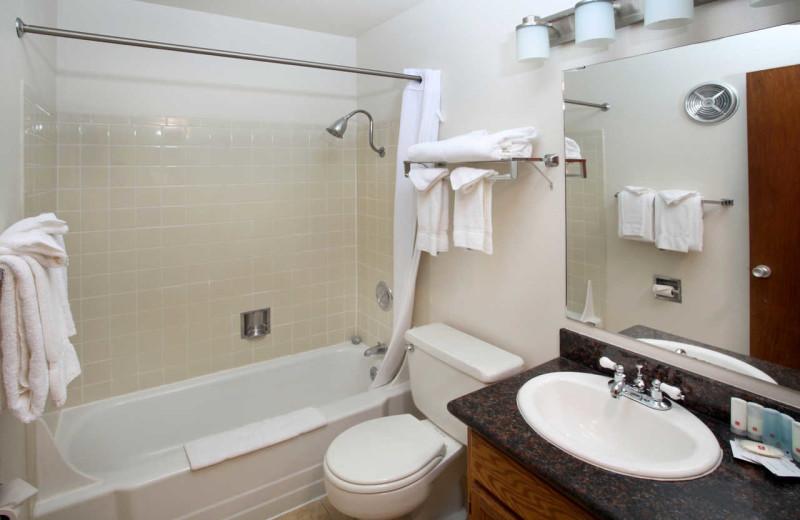 Guest bathroom at Surfrider Resort.