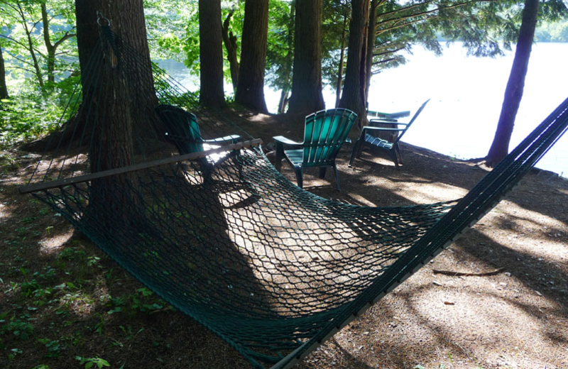 Hammocks at The Elms Waterfront Cottages.