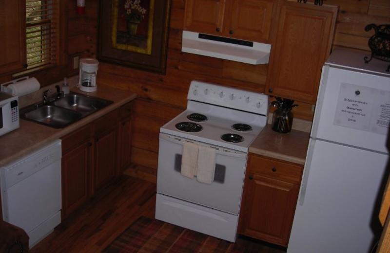 Cabin kitchen at Rock Creek Cabins.
