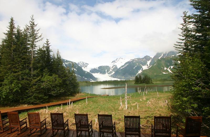 Deck wit chairs at Kenai Fjords Glacier Lodge.