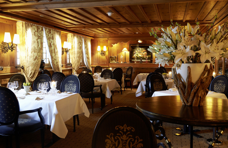 Dining at Gstaad Palace Hotel.