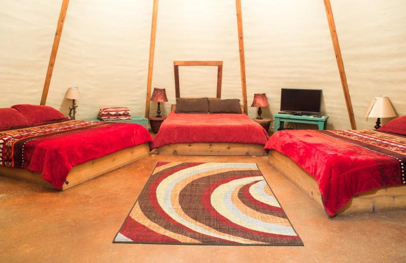 Yurt bedroom at Geronimo Creek Retreat.