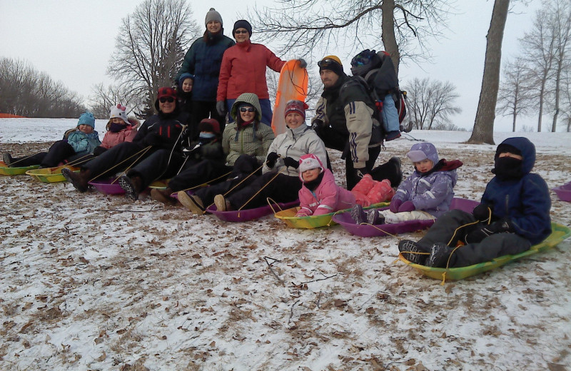 Sledding at Arrowwood Resort.