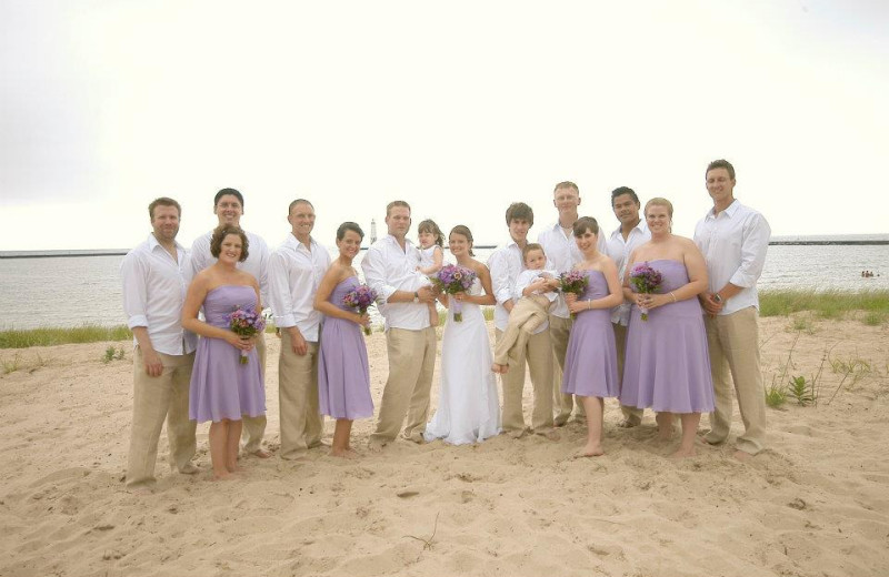 Wedding on beach at Harbor Lights Resort.