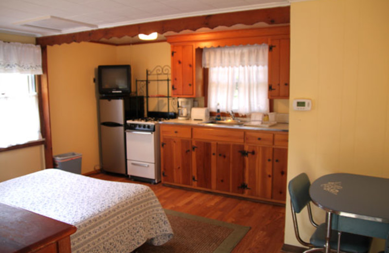 Cottage interior at Phoenicia Lodge.