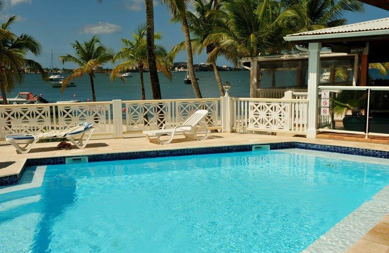Outdoor pool at Anse Margot Hotel.