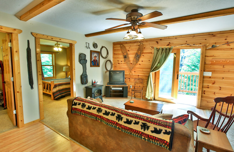 Cabin living room at Northern Lights Resort & Outfitting.