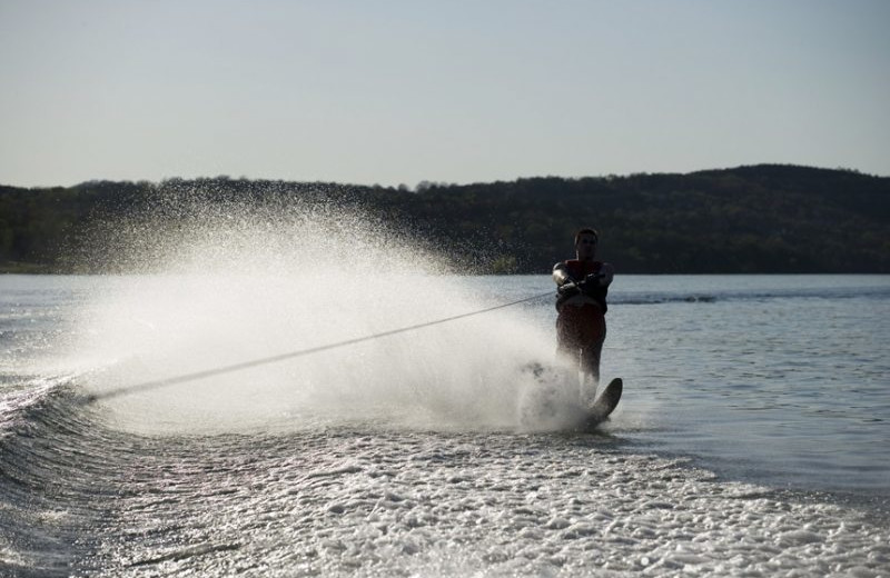 Slalom skiing at Stonewater Cove Resort.