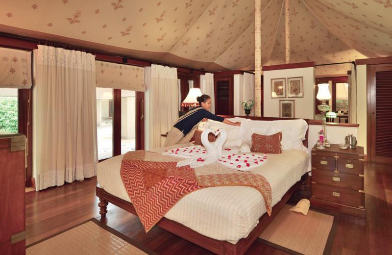 Guest room at Rajvilas - An Oberoi Hotel.