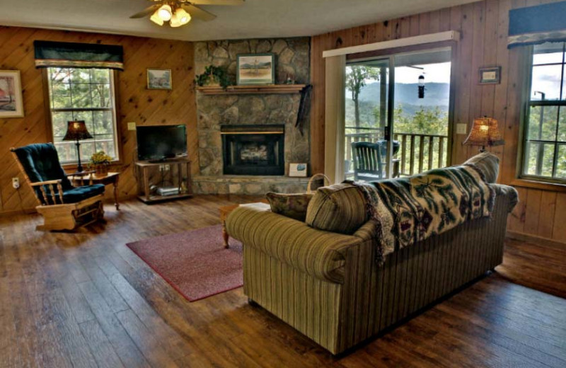 Cabin living room at Laurel Mountain Cabins.