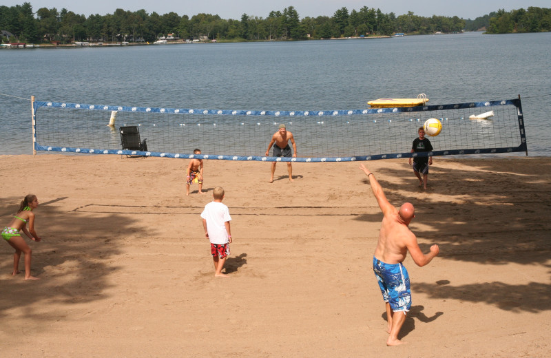Volleyball net at Bay View Lodge.