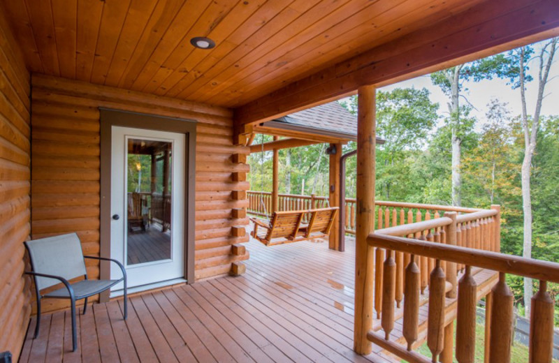 Cabin deck at Cut Above Cabins.