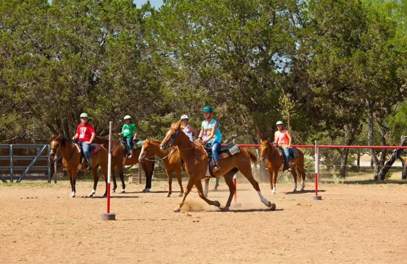 Horseback riding at Camp Balcones Spring.