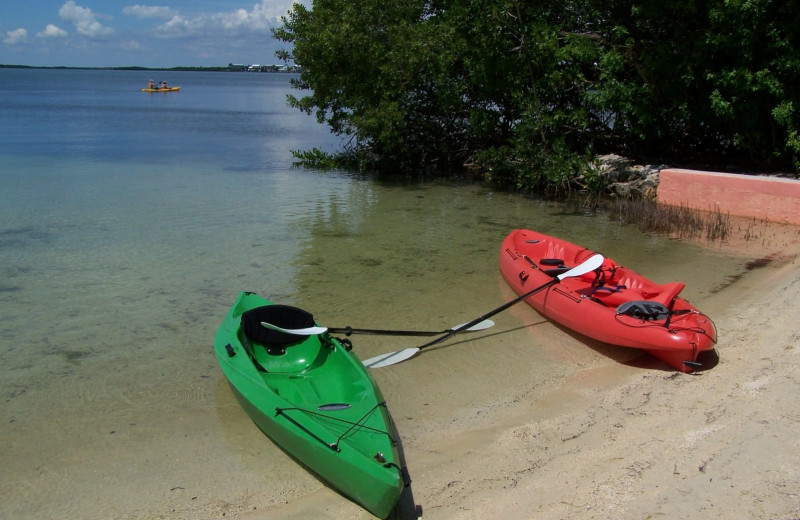 Kayaks at Rock Reef Resort.
