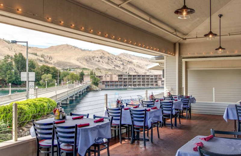 Outdoor dining at Campbell's Resort on Lake Chelan.