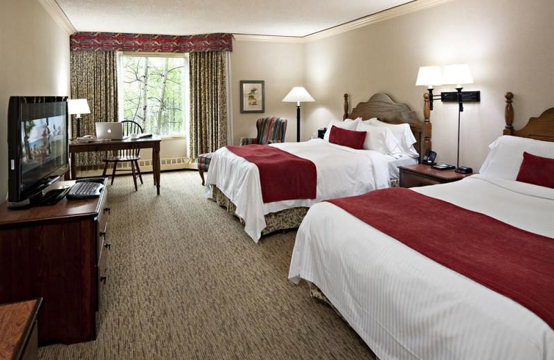 Guest room at Delta Lodge at Kananaskis.
