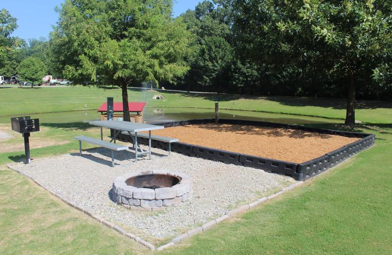 Campsite at Yogi Bear's Jellystone Park Memphis.