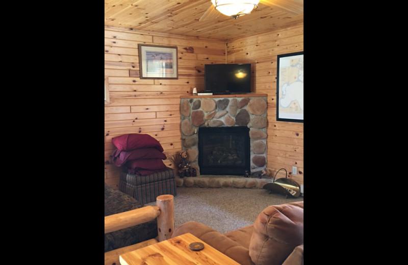 Cabin living room at Linder's HideAway Cabins.